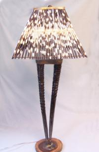 Vintage horn base lamp with porcupine quill shade