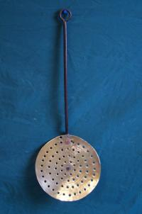 18th c English or Dutch brass and iron strainer