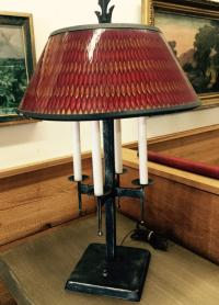 Mid Century Modern iron lamp with plastic shade
