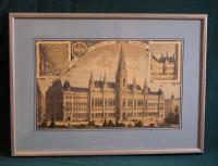 Berndl's antique colored etching of Austrian City Hall 1883