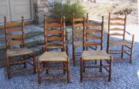 Set of six Wallace Nutting Pilgrim style ladder back chairs