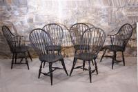 Vintage set of Early American country Windsor chairs Warren Chair Company c1981