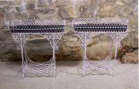 Vintage French pair of wire plant stands with tin liners c1900