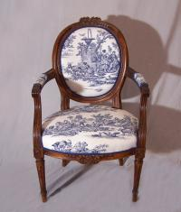 18thc French walnut arm chair in blue toile