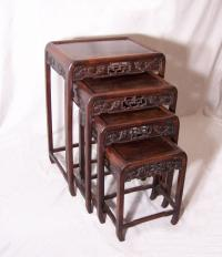 Antique set of Chinese stacking end lamp table stands  c1870