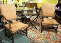 Pr pair of late 19th century beech and alcantera upholstered arm chairs