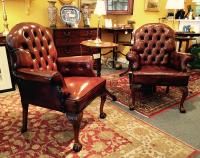 Pair of vintage Art Deco period leather arm chairs