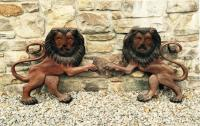 Pair of 19thc English carved and painted folk art lions
