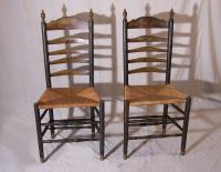 Rare pair of hand painted Dutch ladder back chairs c1760