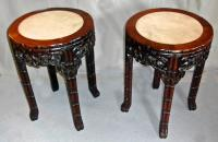 Antique pair of Chinese rosewood and marble taborets