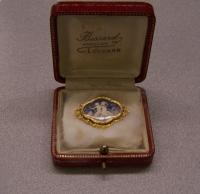 Antique hand painted Boucheron 18K gold brooch Paris c1860