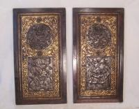 Pair 19thc Chinese gilt wood panels carved with dragons and foo lions