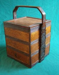 Chinese wedding basket tiffin with carved handle c1930