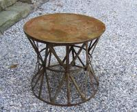 Vintage metal French patio end table with weathered patina c1920
