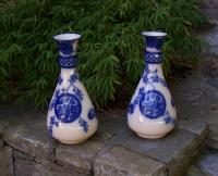 Pair English Aesthetic blue willow vases c1880