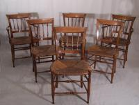 Set of six hickory kitchen chairs c1900