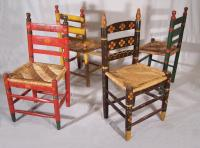 Set of four Mexican painted chairs with rush seats