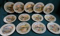 Set of 13 Royal Doulton historical castle plates