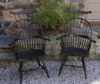 Vintage pair of D R Dimes knuckle arm Windsor arm chairs