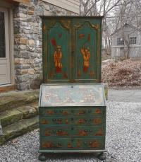 19thc Chinoiserie lacquered secretary desk in blue green paint