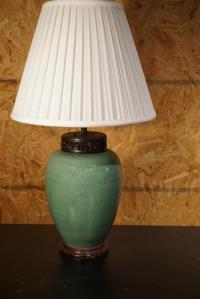 Antique Chinese green pottery lamp