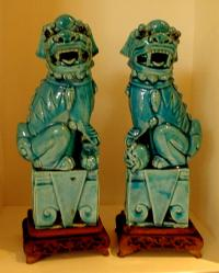 Antique Chinese pottery pair of Kylins
