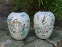 Pair of antique Chinese export porcelain jars