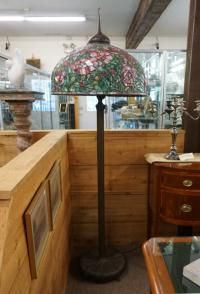 Reproduction Tiffany style leaded glass peony floor lamp