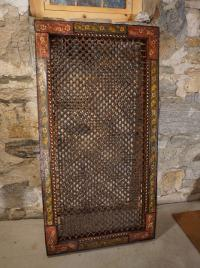 18thc Indian painted teak window grille