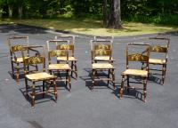 Set of eight painted Sheraton rush seat dining chairs