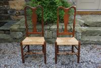 Antique pair of Queen Anne fiddle back side chairs c1740