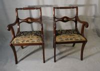 Regency style pair of armchairs with needlepoint seats
