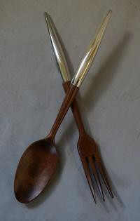 Vintage French teak and sterling salad set c1970