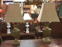 Pair of gilt wood lamps