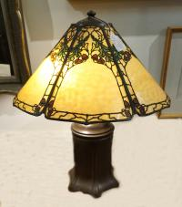 Handel leaded glass oak leaf and acorn lamp