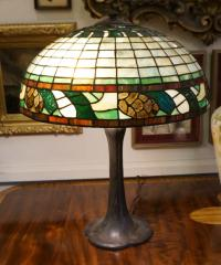 Handel leaded glass pine cone lamp c1912