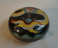 Antique Chinese cloisonne covered box with dragon c1900