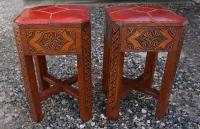 Antique pair of Turkish leather top stools