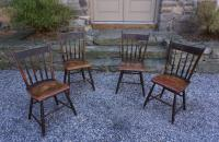Set of slat back Windsor chairs in original paint c1850