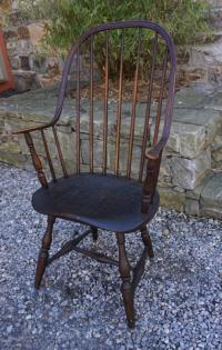 Early Windsor chair with continuous arm and bow back c1790
