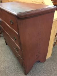 Early American pine blanket chest in red paint