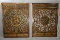 Antique Chinese carved wood panels c1900