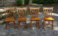 Antique New England maple thumb back chairs c1820