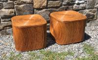 Mid Century Modern rattan cube tables