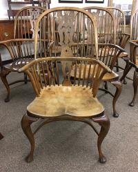 Six D R Dimes English Windsor dining armchairs