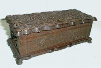 Antique Carved wood chinese storage box