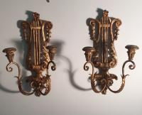 Vintage Palladio gilt wood candle sconces c1930