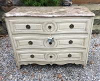 French 18th c commode in original white paint