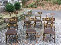 Seven early American painted maple tablet top chairs c1810