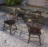 Vintage set of 4 painted captains chairs c1950